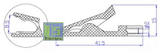 krokodylek mini 2mm czarny
