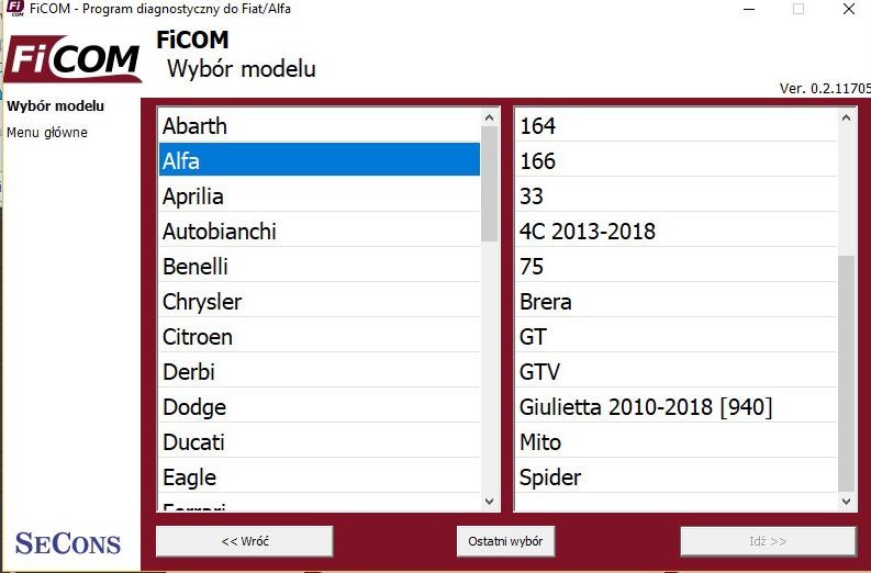fcom wybor modelu
